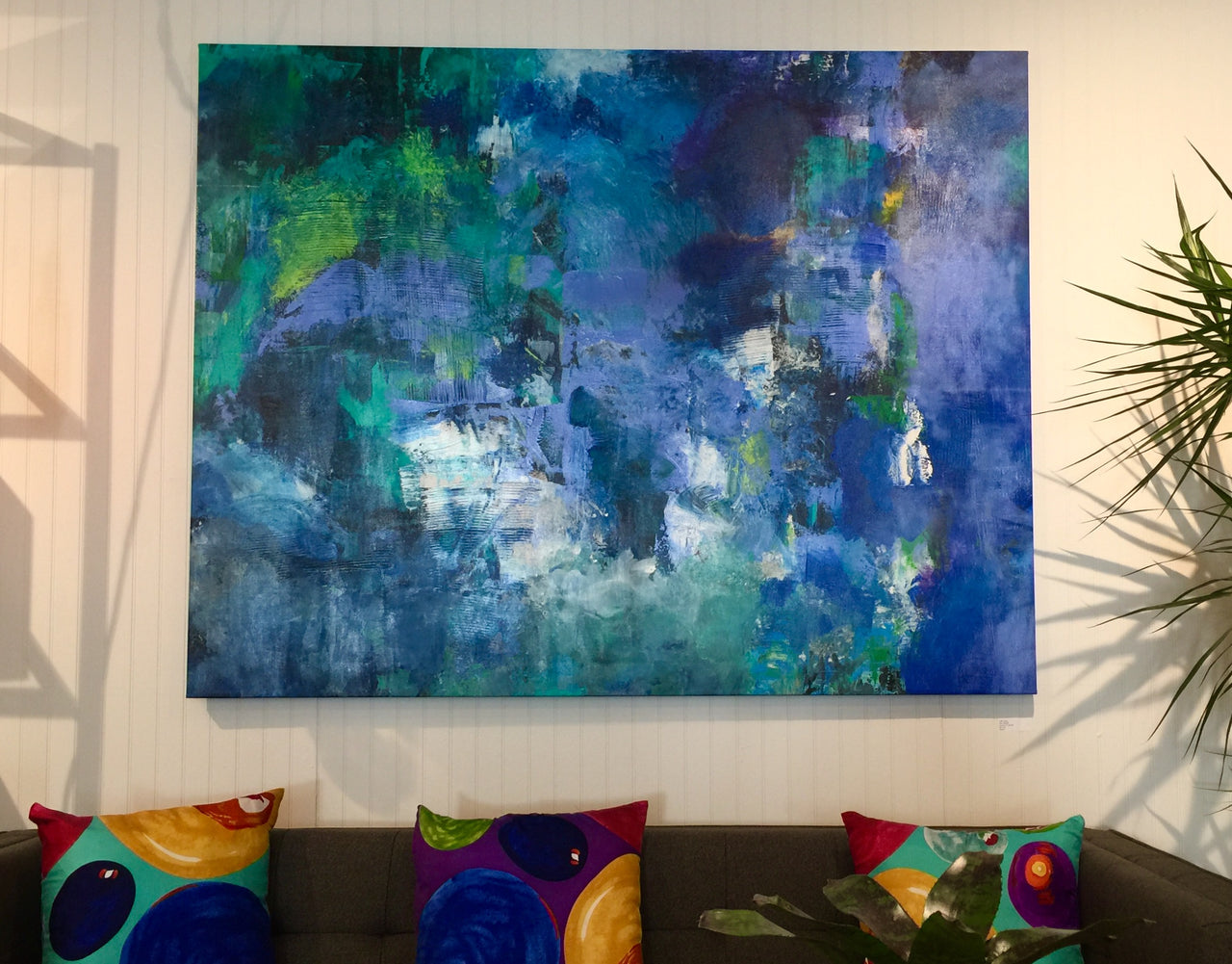 "Taffi Laing Abstract Original Painting ""Blue Blazes"" 64"" x 50"""
