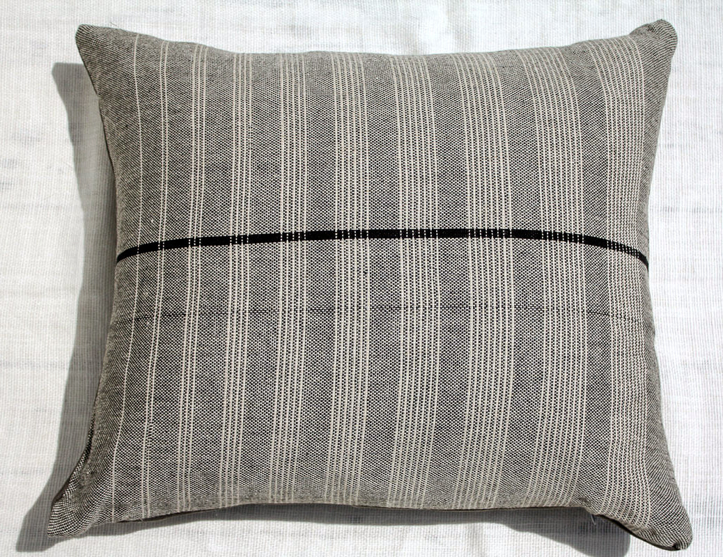 "Sol Pillow ~ Black with White Stripes 20"" x 23"""