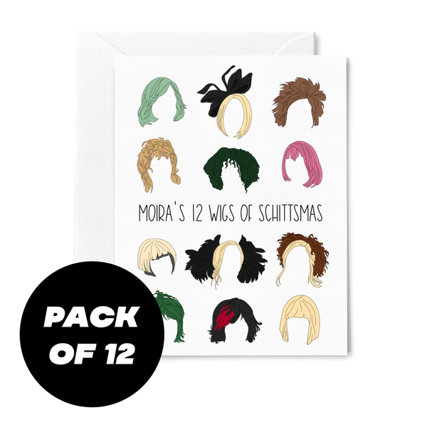 Moira's 12 Wigs of Schittsmas Christmas Card - Pack of 12