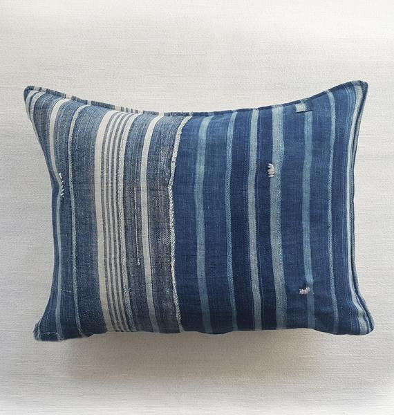 "INDIE: striped indigo throw pillow 20"" x 30"" 