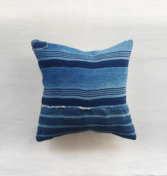 "INDIE: striped indigo pillow 18"" square 