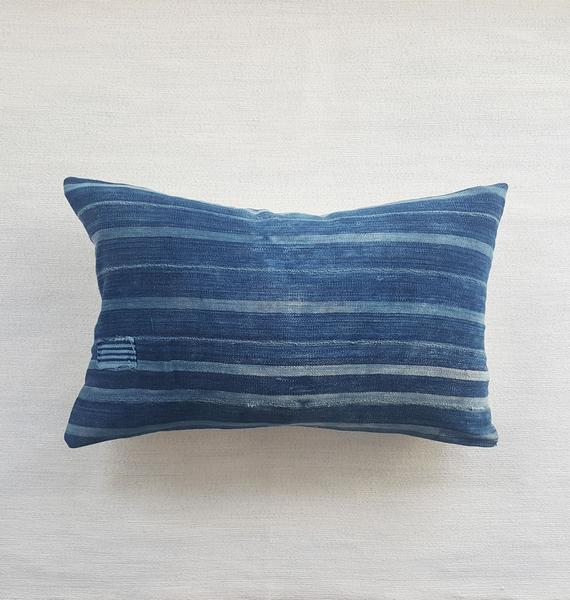 INDIE: striped indigo lumbar pillow 25 x 15 | touchGOODS