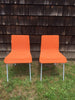 Retro Orange Wicker and Metal Dining Chairs by Loom Italia - touchGOODS