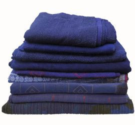 Assorted Indigo Blue Indian Kantha Quilts | touchGOODS