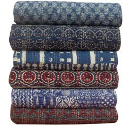 Assorted Hand-stitched Indian Block Print Quilts - touchGOODS