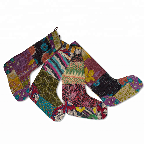 Vintage Kantha Christmas Stocking