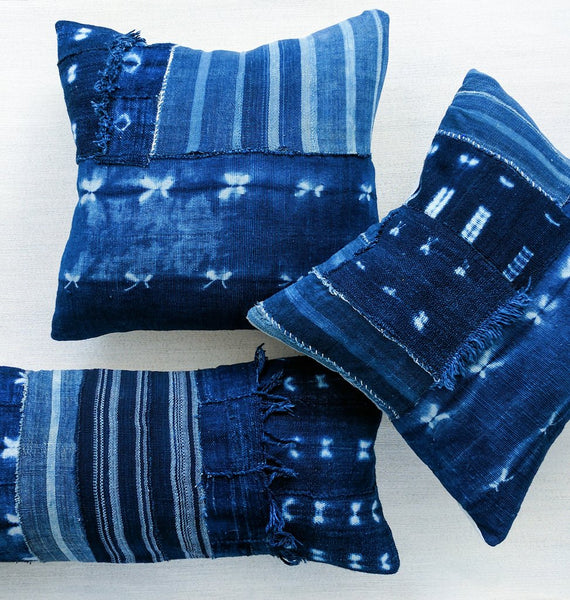 "PATCH indigo 18"" throw pillow"