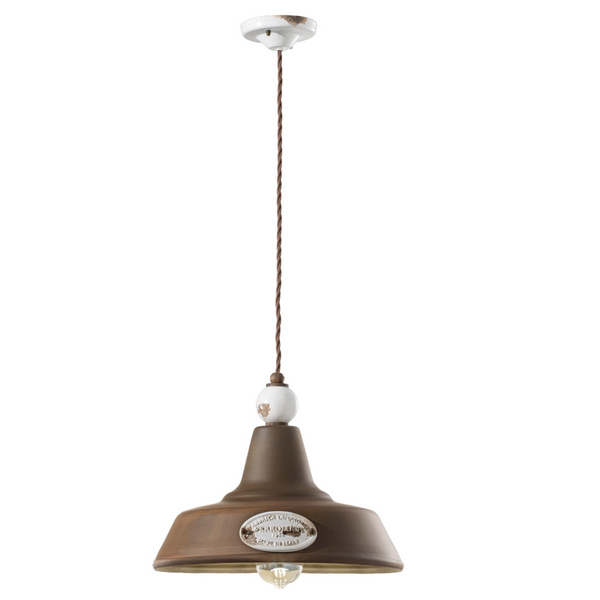 Ferroluce Grunge Pendant with Metal Shade C1600-C1601 | touchGOODS