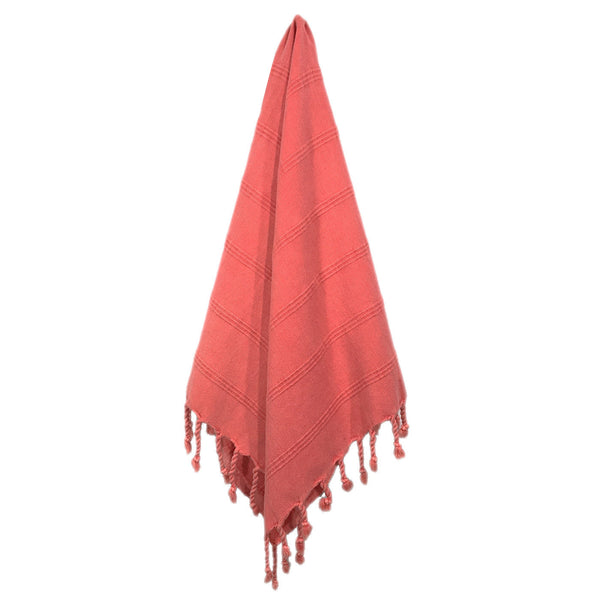 Stonewash Turkish Hand Towel - Coral | touchGOODS