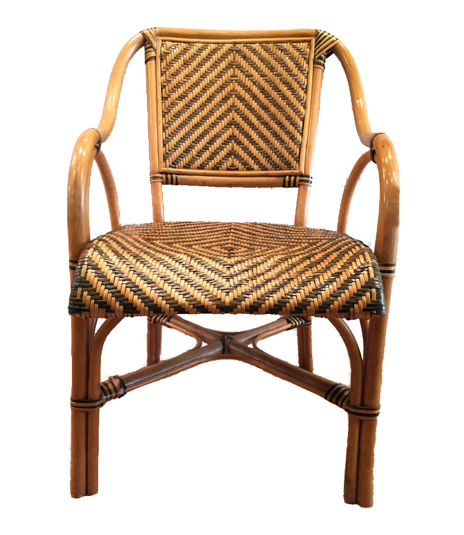 Set Of 6 Safari Rattan Bent Wood Dining Arm Chairs   TouchGOODS