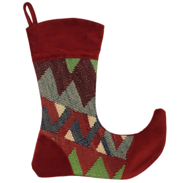 Victorian Style Vintage Kilim Christmas Stocking - Large