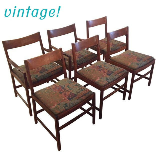 Gorgeous Set of 6 Vintage Danish Modern Dining Chairs | touchGOODS