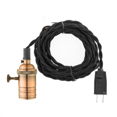 Copper Finish Lamp Socket Plug In Pendant on 15' Twisted Fabric Cord | touchGOODS