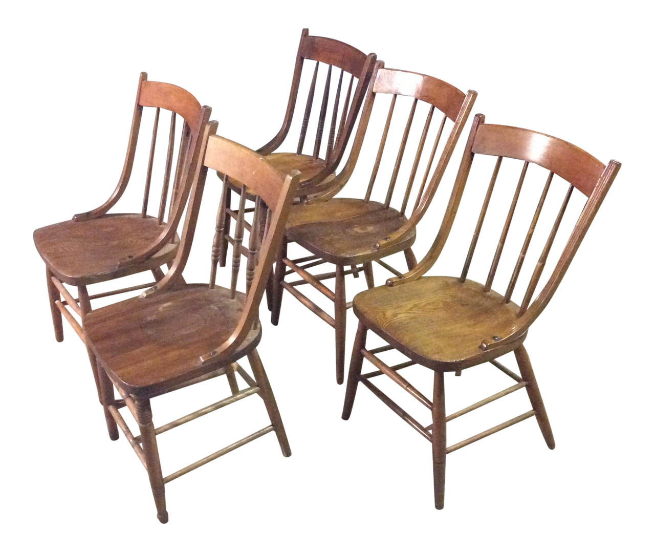 Set of 5 Early American Country Farm Dining Chairs - touchGOODS