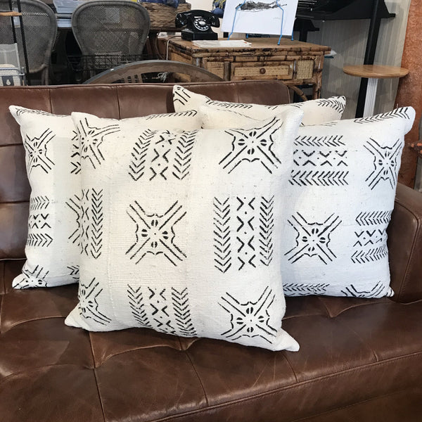 African Mudcloth Throw Pillow in White | touchGOODS