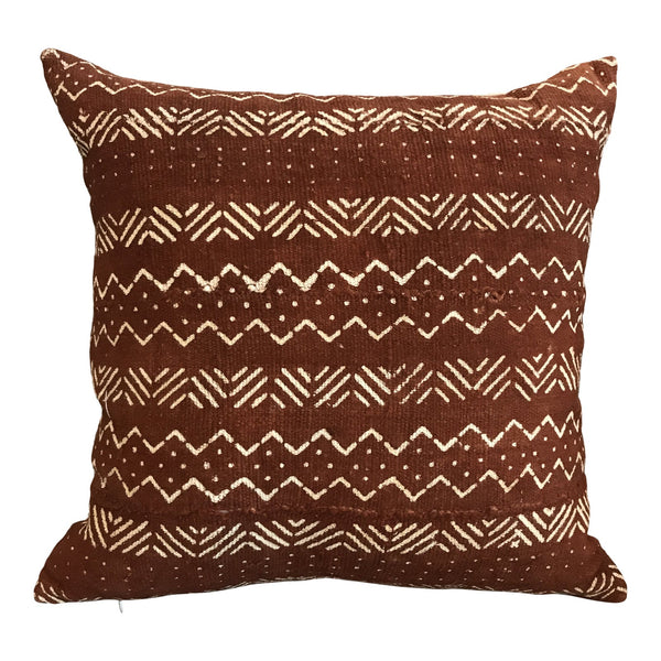 African Mudcloth Throw Pillow in Rust | touchGOODS