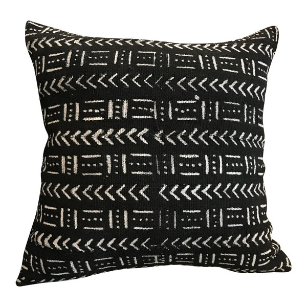 African Mudcloth Throw Pillow in Black | touchGOODS