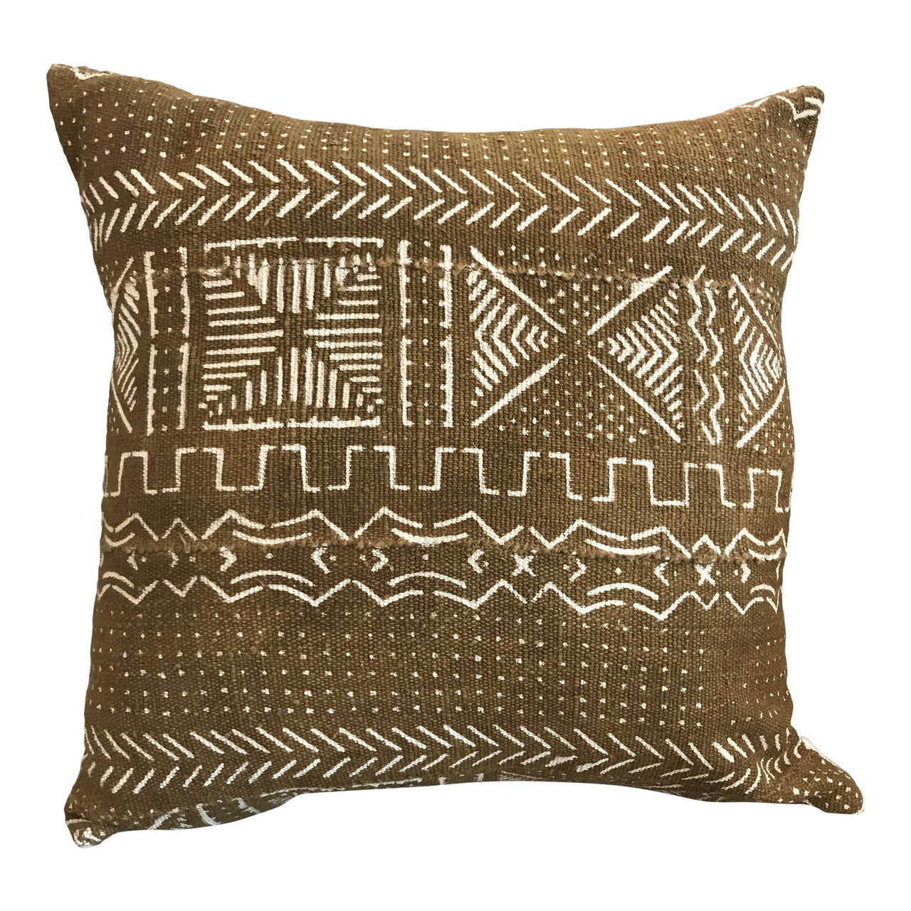 African Mudcloth Throw Pillow in Mustard | touchGOODS