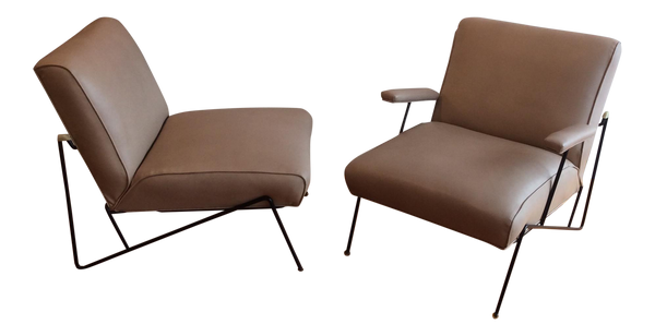Vintage California Iron Lounge Chairs - A Pair