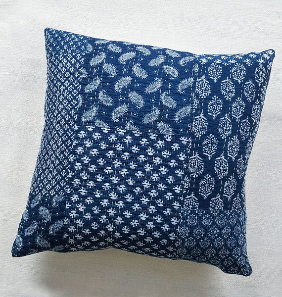 Kantha Indigo Pillow