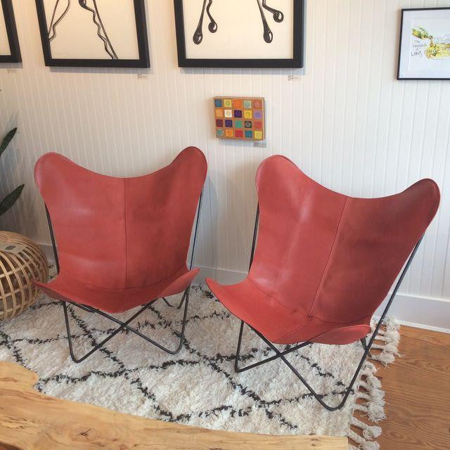 Mid-Century Red Leather Butterfly Chair | touchGOODS