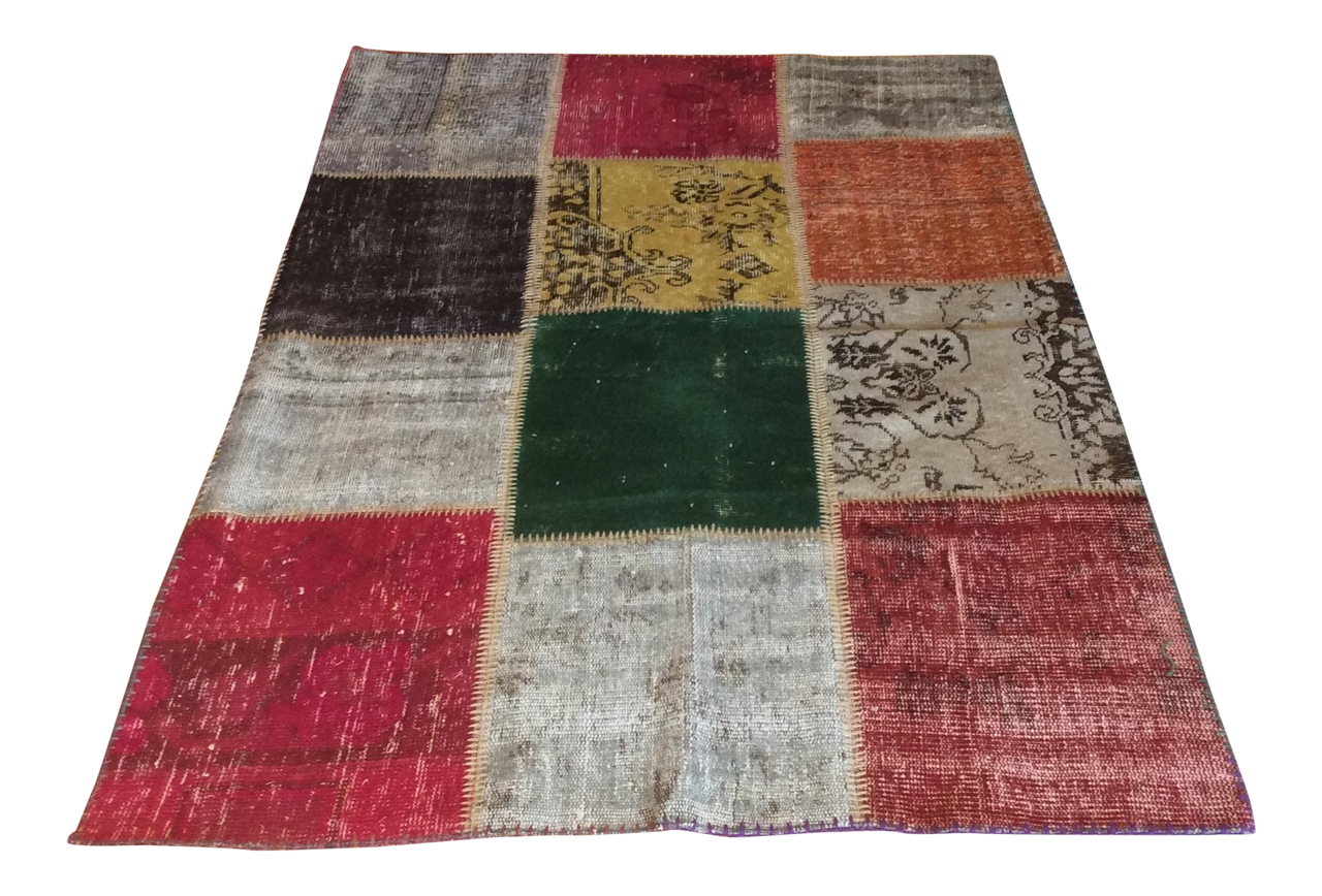 Vintage Turkish Over-Dyed Patchwork Area Rug 71ʺ × 48ʺ | touchGOODS