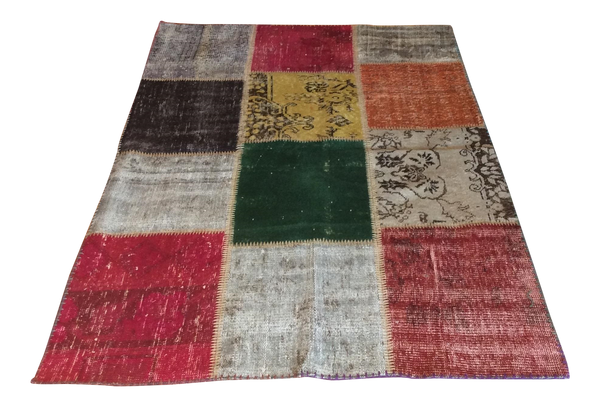 Vintage Turkish Over-Dyed Patchwork Area Rug 71ʺ × 48ʺ - touchGOODS