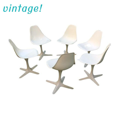 Burke Vintage White Tulip Chairs - Set of 6 - touchGOODS