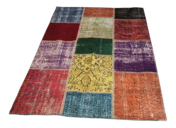 Over-Dyed Vintage Turkish Patchwork Area Rug 4′ × 5′11″ - touchGOODS