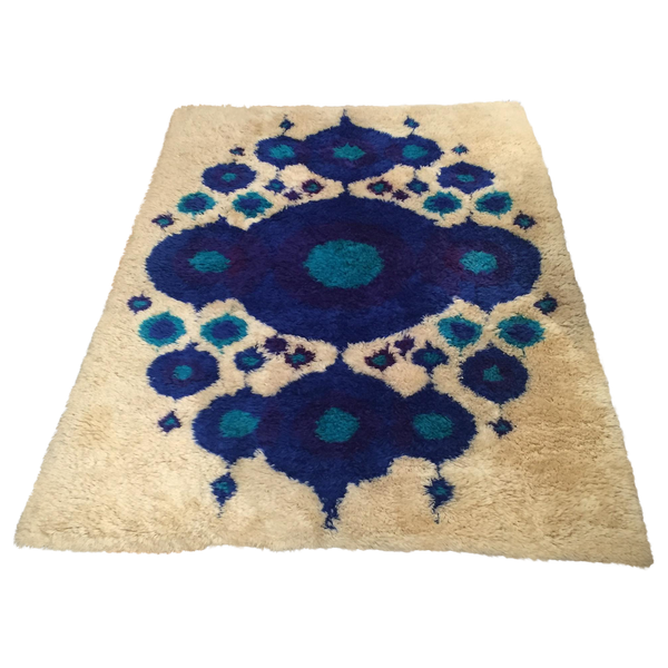 Vintage Swedish Rya Wool Shag Rug - 4′8″ × 6′4″ - touchGOODS