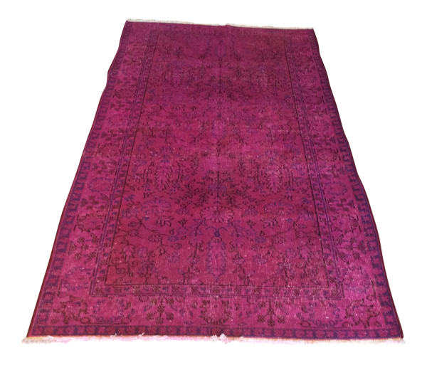 Vintage Over-Dyed Turkish Area Rug in Magenta 3′2″ × 6′4″ - touchGOODS