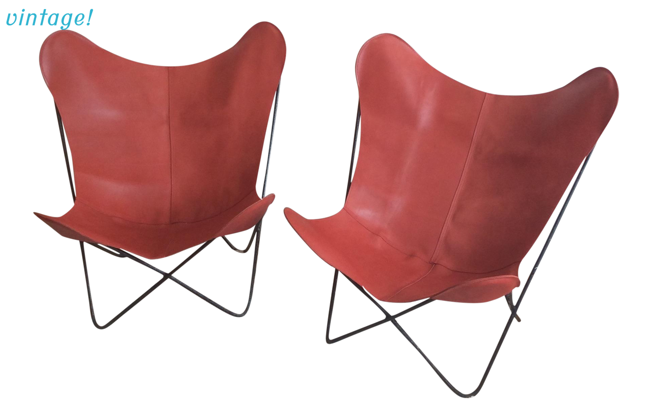 Mid Century Red Leather Butterfly Chair   TouchGOODS