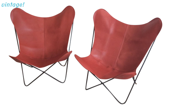 Mid-Century Red Leather Butterfly Chair - touchGOODS