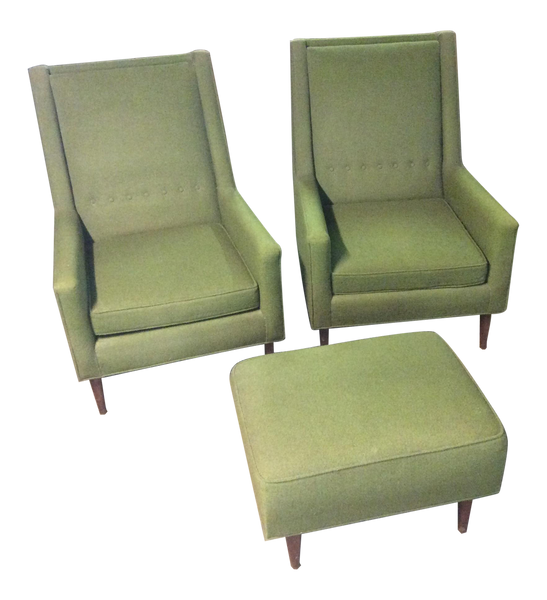 Mid Century Modern Moss Green Tufted Club Chairs & Footrest | touchGOODS