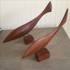 "Pair of Carved Walnut Fish by ""Emilan"" 