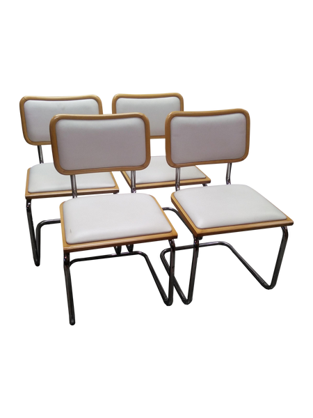 Set of 4 Vintage Chrome Marcel Breuer Style Cantilever Dining Chairs - touchGOODS