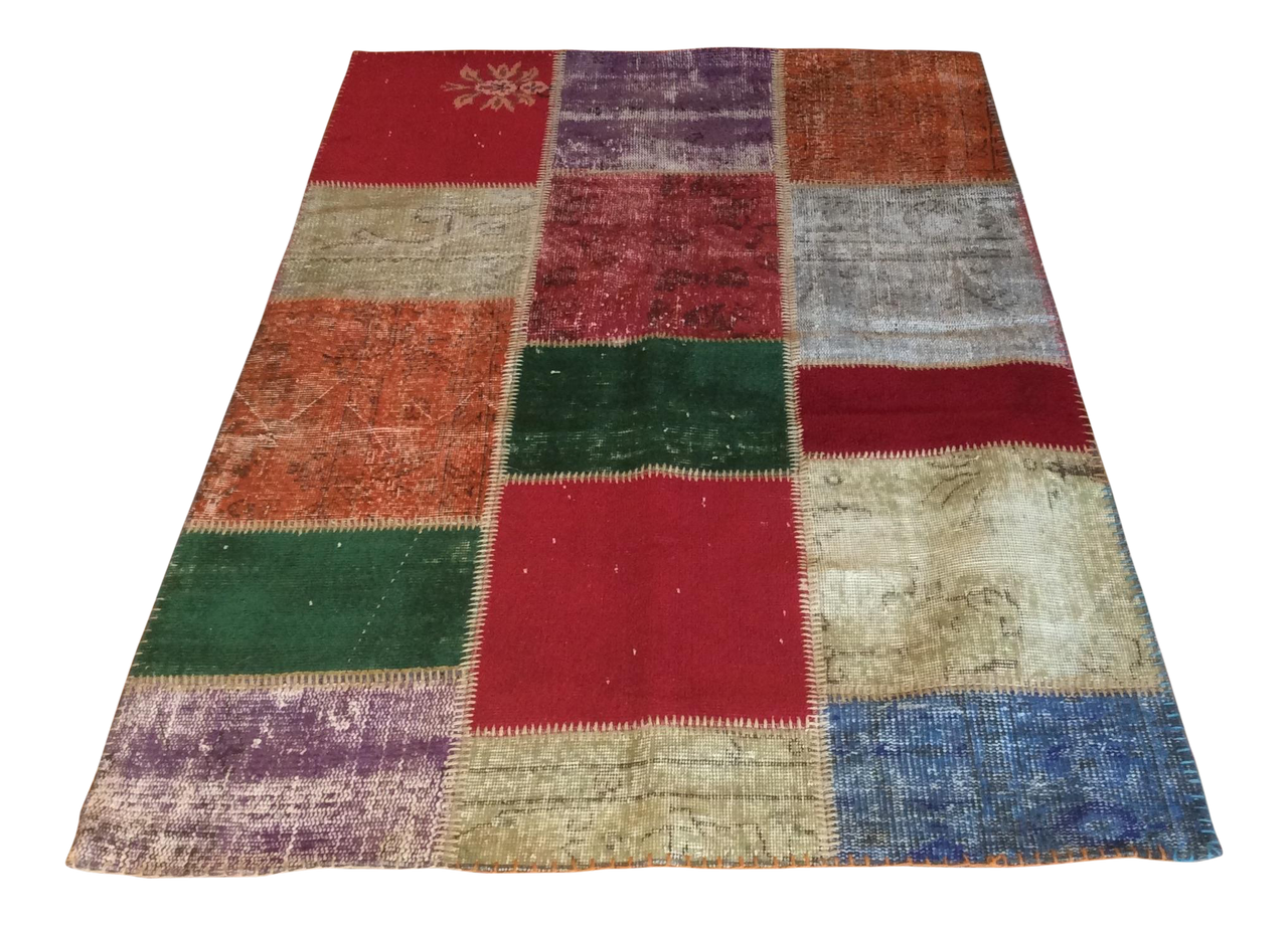 Vintage Turkish Over-Dyed Patchwork Area Rug 4′ × 5′11 | touchGOODS