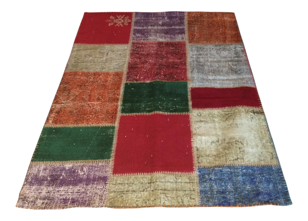 Vintage Turkish Over-Dyed Patchwork Area Rug 4′ × 5′11 - touchGOODS