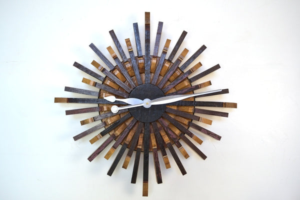 Reclaimed Wine Barrel Oak Starburst Wall Clock - touchGOODS