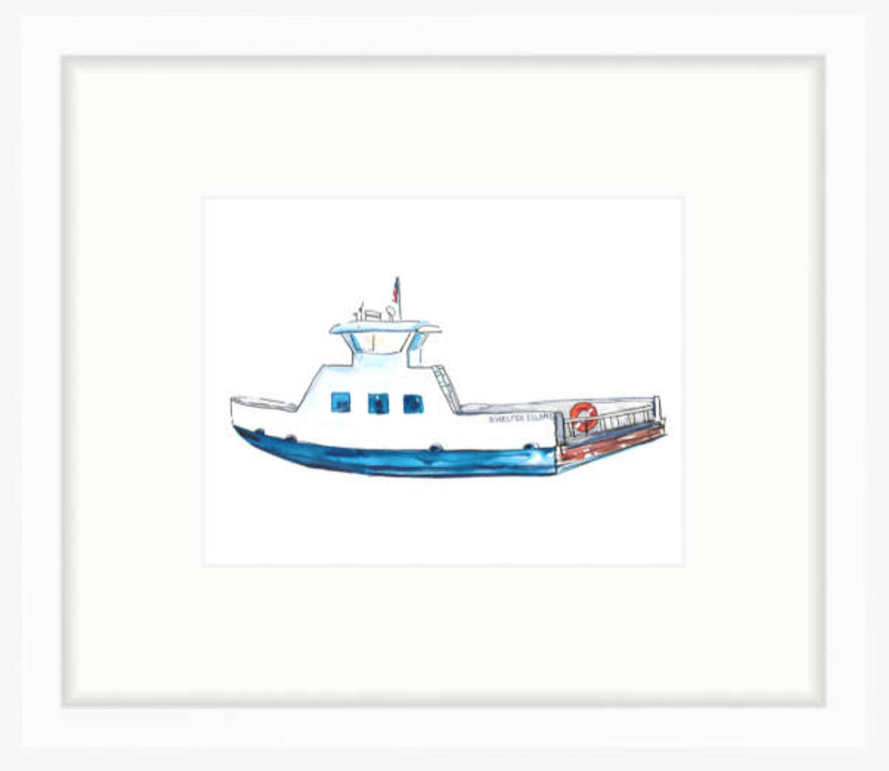 Shelter Island Ferry Watercolor Prints by Jackie Maloney
