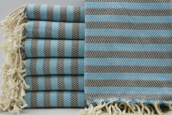 Striped Peshtemal Turkish Bath Towel ~ Turquoise and Gray