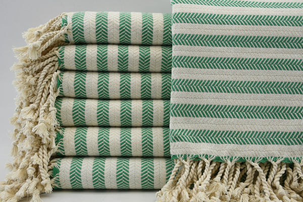 Striped Herringbone Peshtemal Turkish Bath Towel ~ Green & Cream