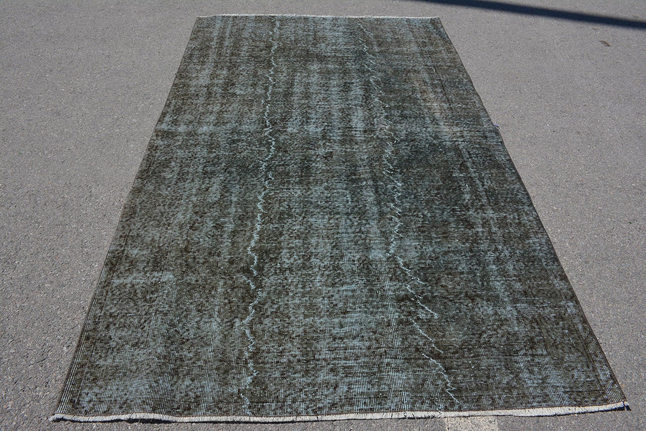 Distressed Green/Gray Over-Dyed Vintage Rug 5'4 x 9'