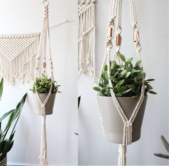 "Macrame Plant Hanger 45""l Natural with Copper"