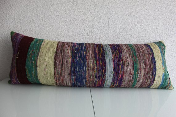 Extra Long Vintage Rag Rug Lumbar Pillow 16 x 48 - touchGOODS