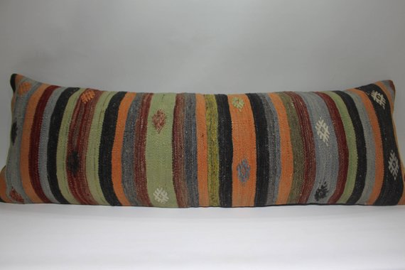 Extra Long Striped Kilim Lumbar Pillow 16 x 42 - touchGOODS
