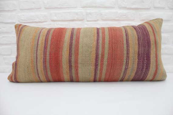 Extra Long Striped Kilim Lumbar Pillow 16 x 36 - touchGOODS