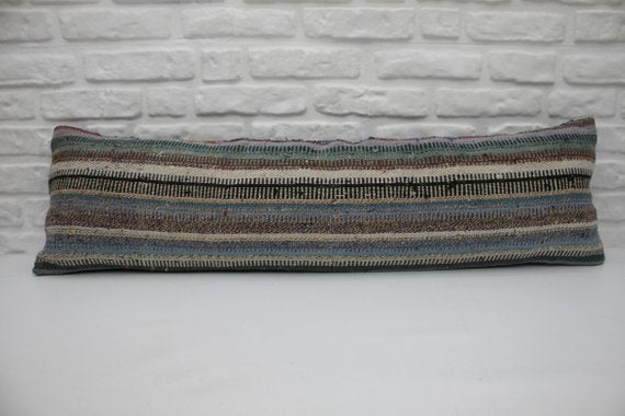 Extra Long Striped Kilim Lumbar Pillow 12 x 42 - touchGOODS