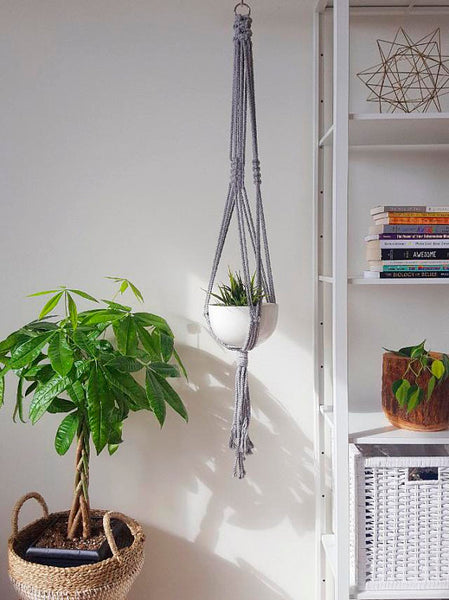 Grey Macrame Plant Hanger - touchGOODS