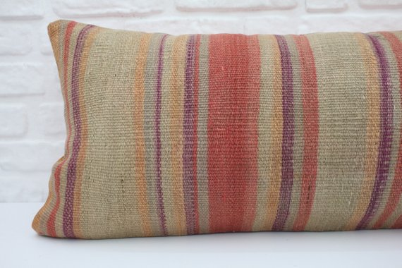 Extra Long Striped Kilim Lumbar Pillow 16 x 36 | touchGOODS